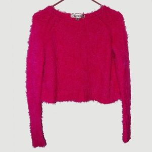 Decree - Hot Pink Fuzzy Cropped Swoop Neck Sweater
